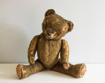 Stuffed wood shavings mohair teddy bear.
