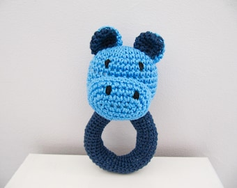 all cotton Blue Hippo rattle