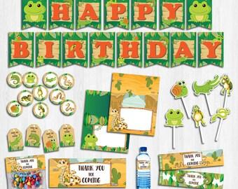 Reptile party package, Reptile Birthday, Reptile banner, Reptile bag, Reptile tag, Reptile food, Reptile water | REP_FULL