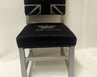 Union Jack chair / velvet chair / British theme / black and white / Union Jack / bespoke / silver / occasional chair