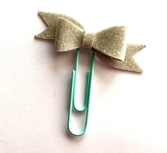Cute sparkly silver bow planner paperclip, Planner charm, Bow charm