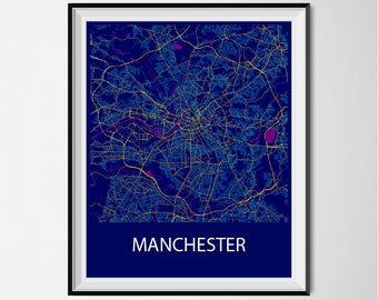 Manchester Map Poster Print - Night