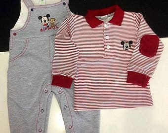 MICKEY MOUSE fleece overalls full + 3/6 t-shirts infant months