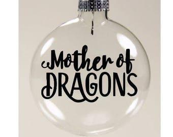 Mother of Dragons Game of Thrones Khaleesi Dragon Christmas Ornament Glass Disc Holiday Horror Black Friday Merch Massacre