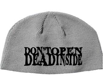 Walking Dead Don't Open Dead Inside Walker Zombie Beanie Knitted Hat Cap Winter Clothes Horror Merch Massacre Christmas Black Friday