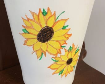 Flower Pot hand painted with Sunflowers
