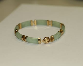 14 K Green Jade Bracelet