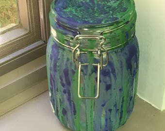 Mason Jar Lantern, Green & Blue Painted Lantern, Handpainted Lantern, Colorful Handpainted Centerpiece