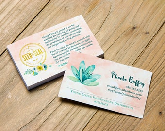 Beautiful Watercolor Design with Seed to Seal Commitment > Business Card > Personalized for Young Living Independent Distributors