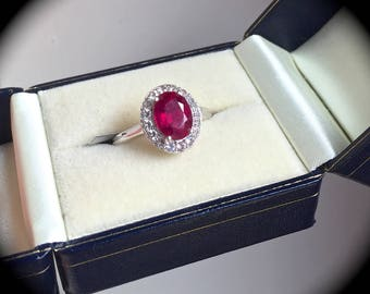2.51ct Genuine Ruby Ring Size N 1/2 (US 7) Premium Sterling Silver Jewellery  'Certified' Exquisite Colour!