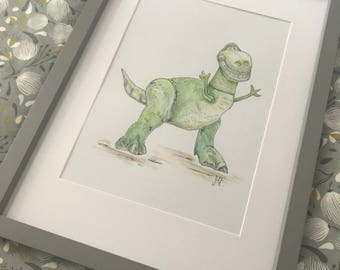 Hand Painted Toy Story Rex Watercolour
