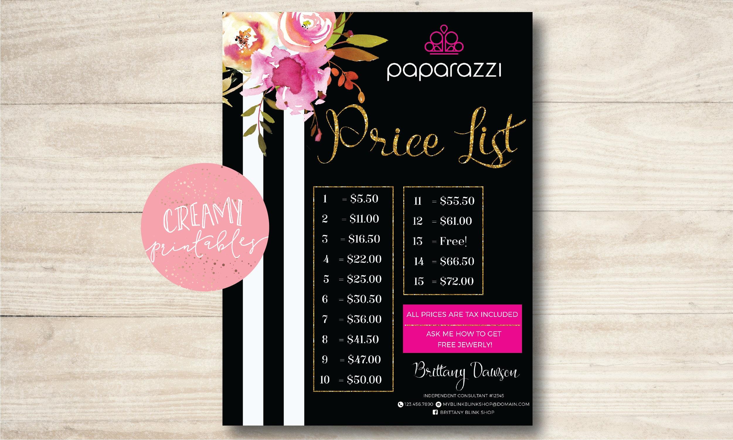 Paparazzi Jewelry Price List Poster Free Personalized 18x24
