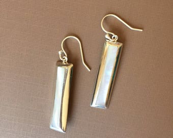 Rectangular Mother of Pearl Long Dangling Earrings in Sterling Silver