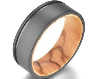Titanium Mens Wedding Band Mens Wedding Ring Olive Wood Gun Metal Grey Sandblasted Wedding Ring Rings By Pristine
