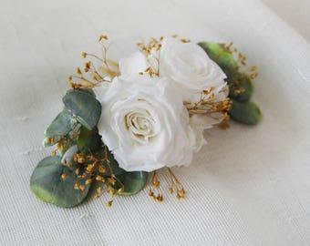 Peigne Roses Blanches vraies fleurs stabilisées écologiques avec hypsophiles