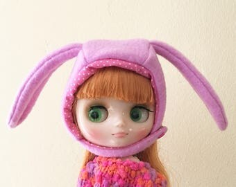 Middie blythe bunny helmet,middie blythe accessory, middie blythe hat, blythe animal hat.