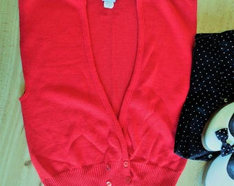Red vintage grandpa cardigan sweater vest