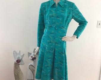Vintage 70s Zip Up Dress M/L