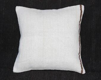 "Organic Hemp Pillow,Kilim Pillow Cover, Handmade Pillow,Natural Kilim Pllow,Large Pillow,20""x20""inches,50x50 cm"