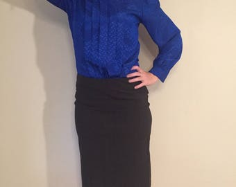 Laura and Jayne Petites Vintage blue silky blouse button up