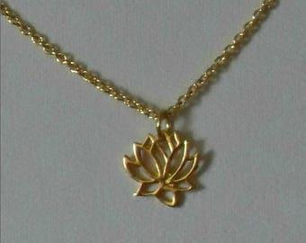 Lotus Flower Necklace,Gold Lotus Flower Necklace,Tiny Gold Vermeil Lotus Flower Necklace,Flower Necklace,Gold Flower Necklace Pendant
