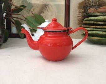 Teapot red Japy enamel, France vintage 1950