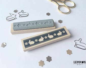 Stamp rimless trims with bunnies / / handmade