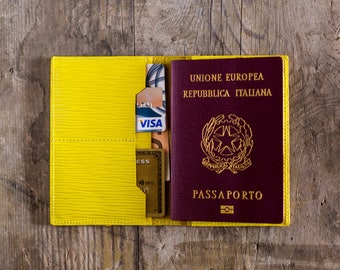 Personalized Yellow Leather Passport Wallet Leather Personalized Passport Holder Luxury Gift for Men Passport Cover Travel Document Wallet