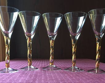 Set of 5 Elegant Vintage Cordial Glasses with Gold Swirl Candy Cane Stems