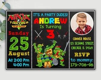 Ninja Turtle Invitation, Ninja Turtle Birthday, Ninja Turtle Birthday Invitation, Ninja Turtle Invites, Ninja Turtle Party, Ninja Turtle