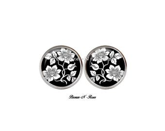 Earrings chips steel glass cabochon white flowers