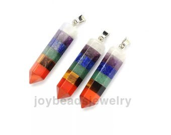 Natural Quartz Crystal Mix Stone Rainbow  Point Chakra Healing Gemstone Pendants Necklace Tiger eyes Amethyst Jewelry DIY