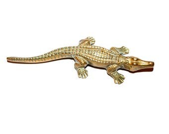 Brass Crocodile. Crocodile. Spirit Animal. Crocodile Totem. Talisman. Brass. Alligator Figure. Vintage Brass. Alligator. Brass Alligator