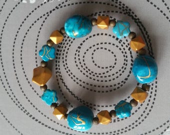 Bracelet turquoise and Brown Girl