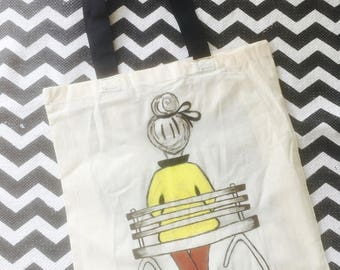 Funky hand painted tote bag
