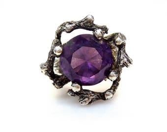 Sterling Silver Round Cut Alexandrite Branches Design Ring