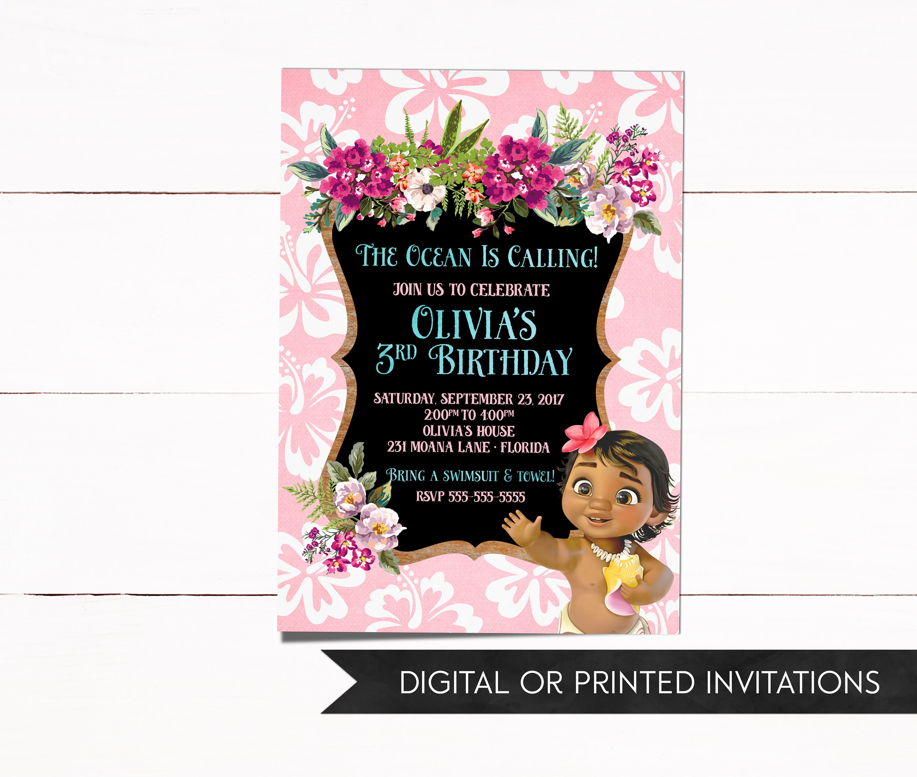Moana Invitation Baby Moana Invitation Moana Birthday