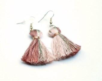 Multi-colored Pink Tassel Earrings // Boho Jewelry