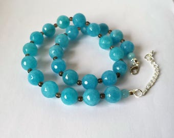Faceted, sky blue aquamarine and smokey quartz bead necklace