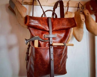 Mens backpack Leather Laptop Carryall Backpack Rucksack Oversized Roll Top Backpack Leather Gift Men's Travel Bag  Leather Camera Bag