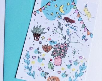 "Card ""Moon"" + blue envelope"
