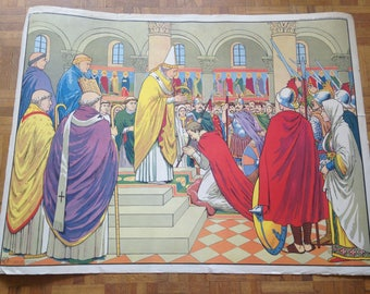 History of France poster - MDI - Clovis high on the bulwark / Coronation of Charlemagne