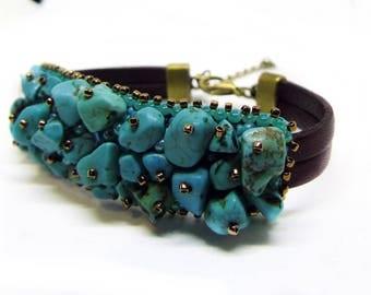 Throat chakra bracelet Vishuddha, turquoise bracelet, bead embroidery bracelet, casual bracelet, healing bracelet