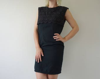 80s / 90s Little Black Dress Sheath style with Rose Detail