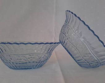 Pair of Pale Blue Pressed Glass Dishes