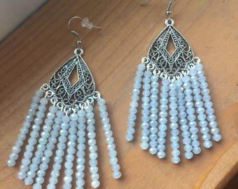 Silver Chandelier Earrings with Light Blue Beads