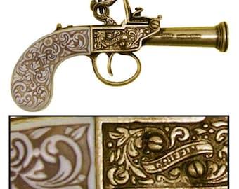 1798 English Gold Flintlock Pistol Replica