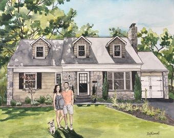 Custom House Painting with Dog and/or people-House Portrait-Pregnancy Announcement-House with Family Painting