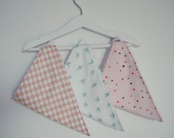 bandana - set of 3 bibs - pink, mint, white