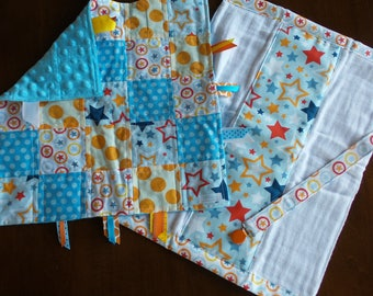 Blue & Orange Star Baby Tag Blanket Gift Set